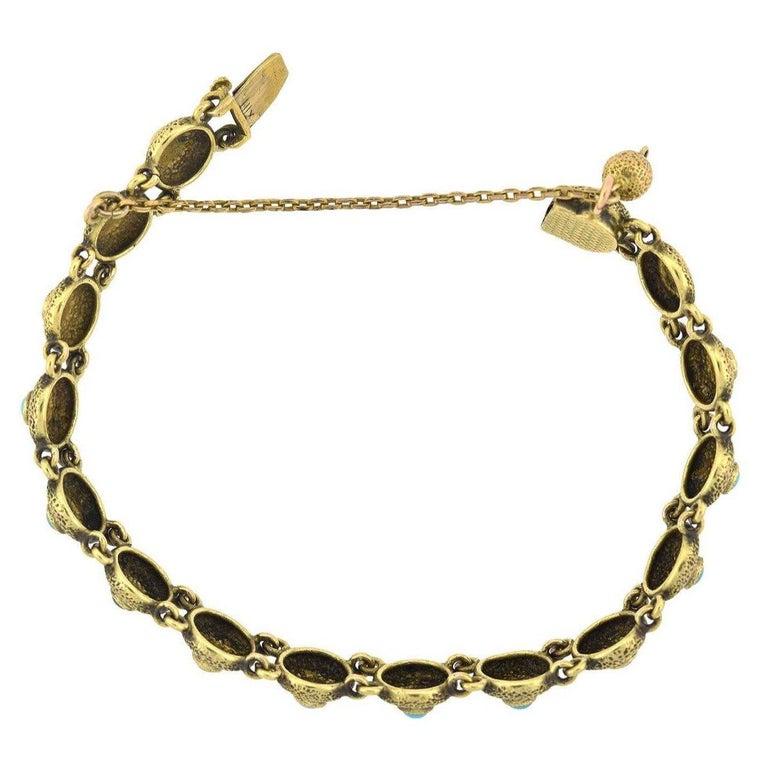 Cabochon Victorian Turquoise Textured Button Link Bracelet For Sale