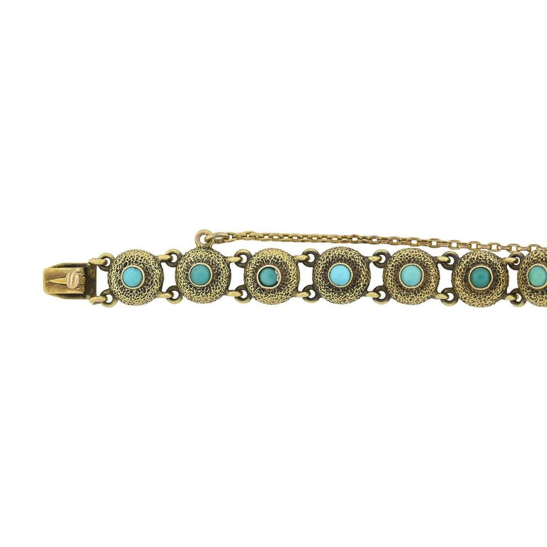 Victorian Turquoise Textured Button Link Bracelet For Sale 1