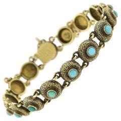 Victorian Turquoise Textured Button Link Bracelet