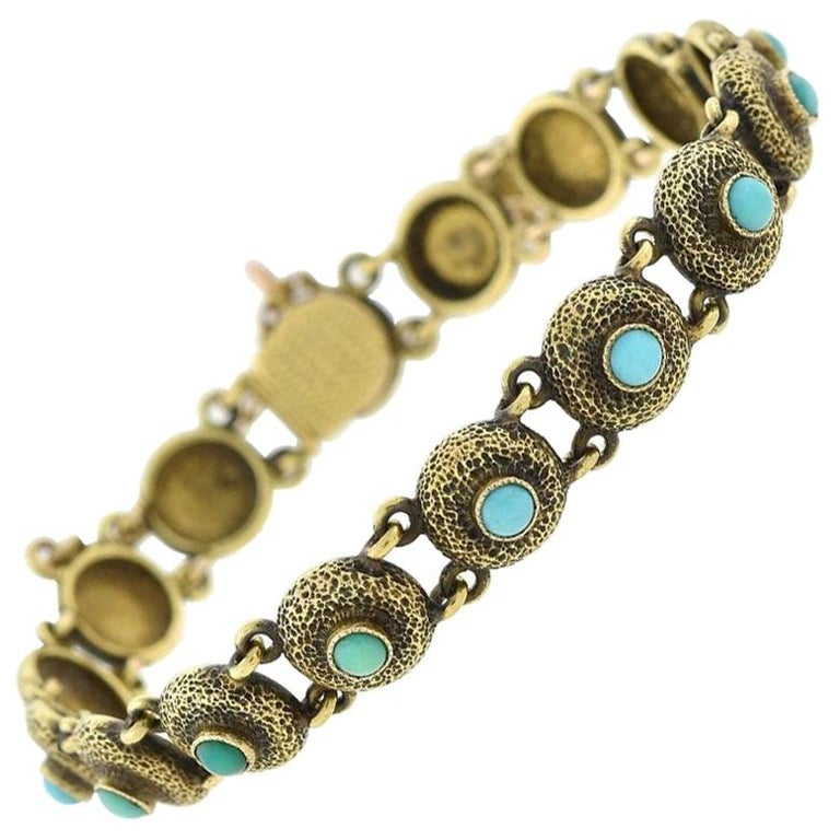Victorian Turquoise Textured Button Link Bracelet For Sale