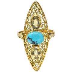 Victorian Turquoise Zircon 14 Karat Gold Navette Ring