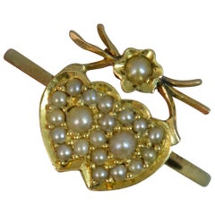 Victorian Two Hearts Pearl Cluster on Yellow Gold