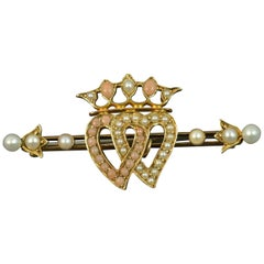 Victorian Two Hearts Seed Pearl Coral Carat Gold Brooch