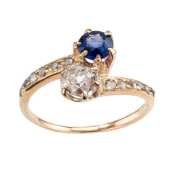 Victorian Two-Stone Diamond Sapphire Yellow Gold Engagement Ring