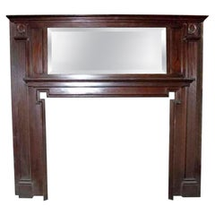 Victorian Two-Tiered Wooden Mantel with over Mirror and Carved Details