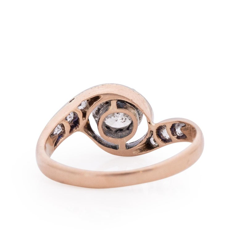 Rose Cut  Victorian Two Tone 14k Rose Gold and Platinum .50 Ct Vintage Bypass Engagement For Sale