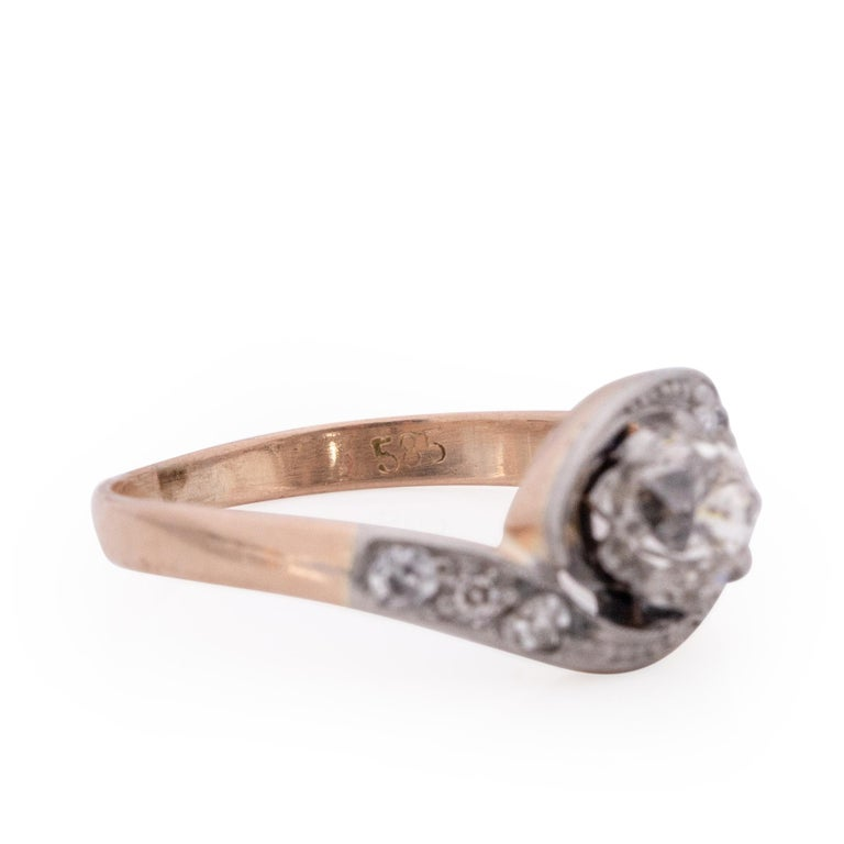 Victorian Two Tone 14k Rose Gold and Platinum .50 Ct Vintage Bypass Engagement For Sale 4