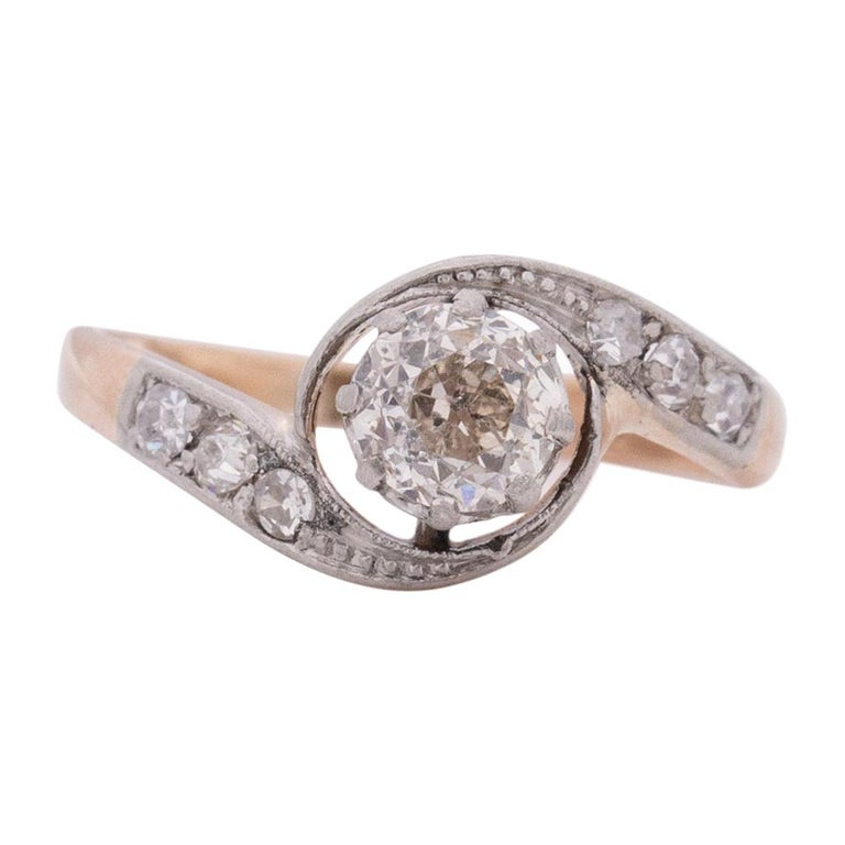 Victorian Two Tone 14k Rose Gold and Platinum .50 Ct Vintage Bypass Engagement For Sale