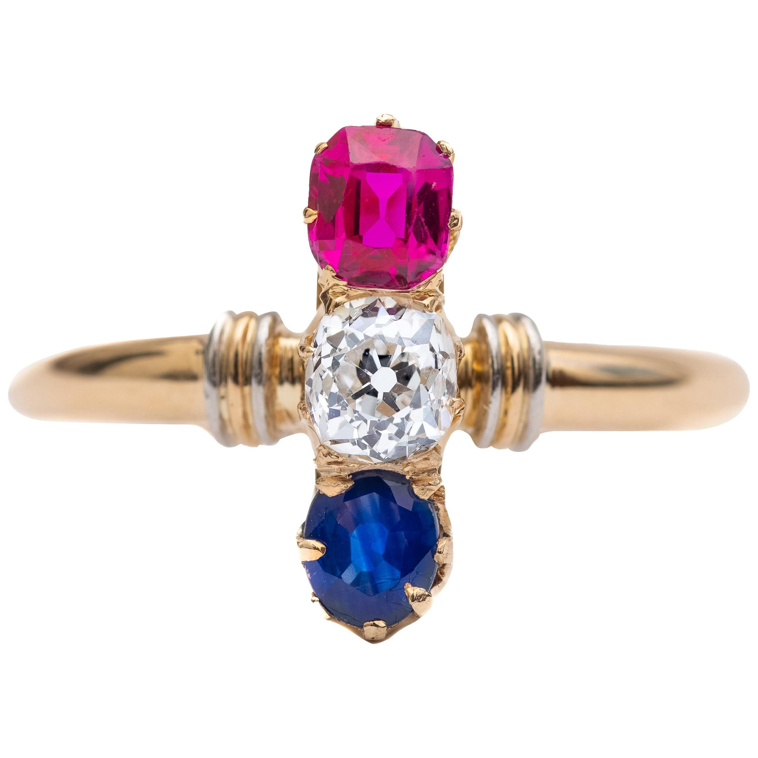 Victorian Two-Tone Diamond, Ruby and Sapphire Ring