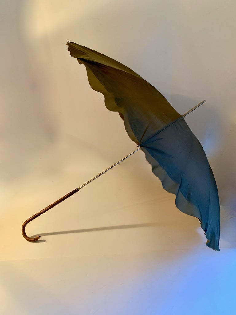 Hand-Woven Victorian Umbrella with Cane Handle For Sale
