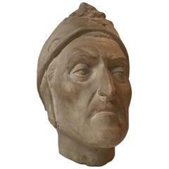 Victorian Unglazed Ceramic Mask of Dante Alighieri, 1900