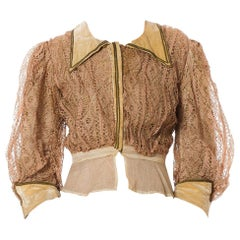 Edwardian Champagne Silk & Cotton Velvet And Handmade Lace Bodice  Top