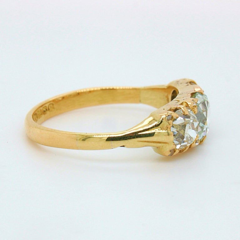 Old Mine Cut Victorian Very Light Green 'GIA' Old Cut Three Diamond Ring, ca. 1880s For Sale
