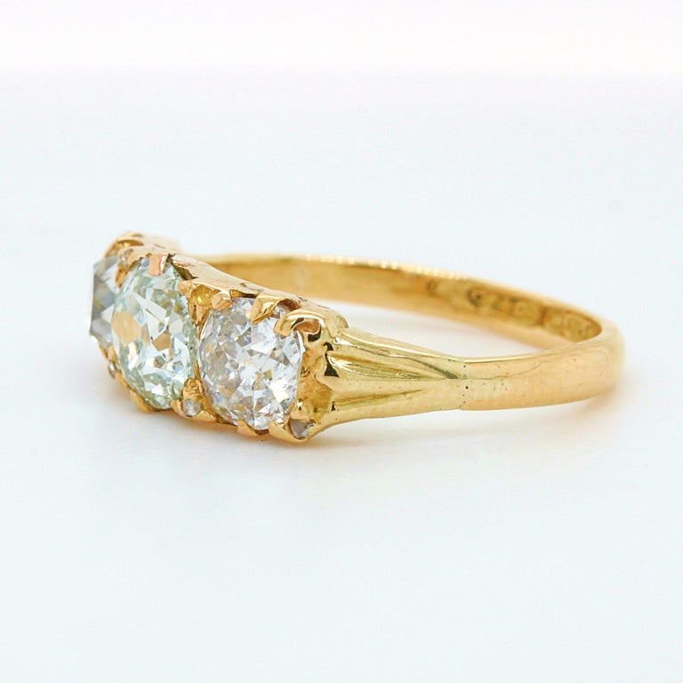 Victorian Very Light Green 'GIA' Old Cut Three Diamond Ring, ca. 1880s For Sale 2