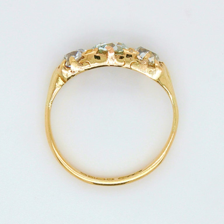 Victorian Very Light Green 'GIA' Old Cut Three Diamond Ring, ca. 1880s For Sale 3
