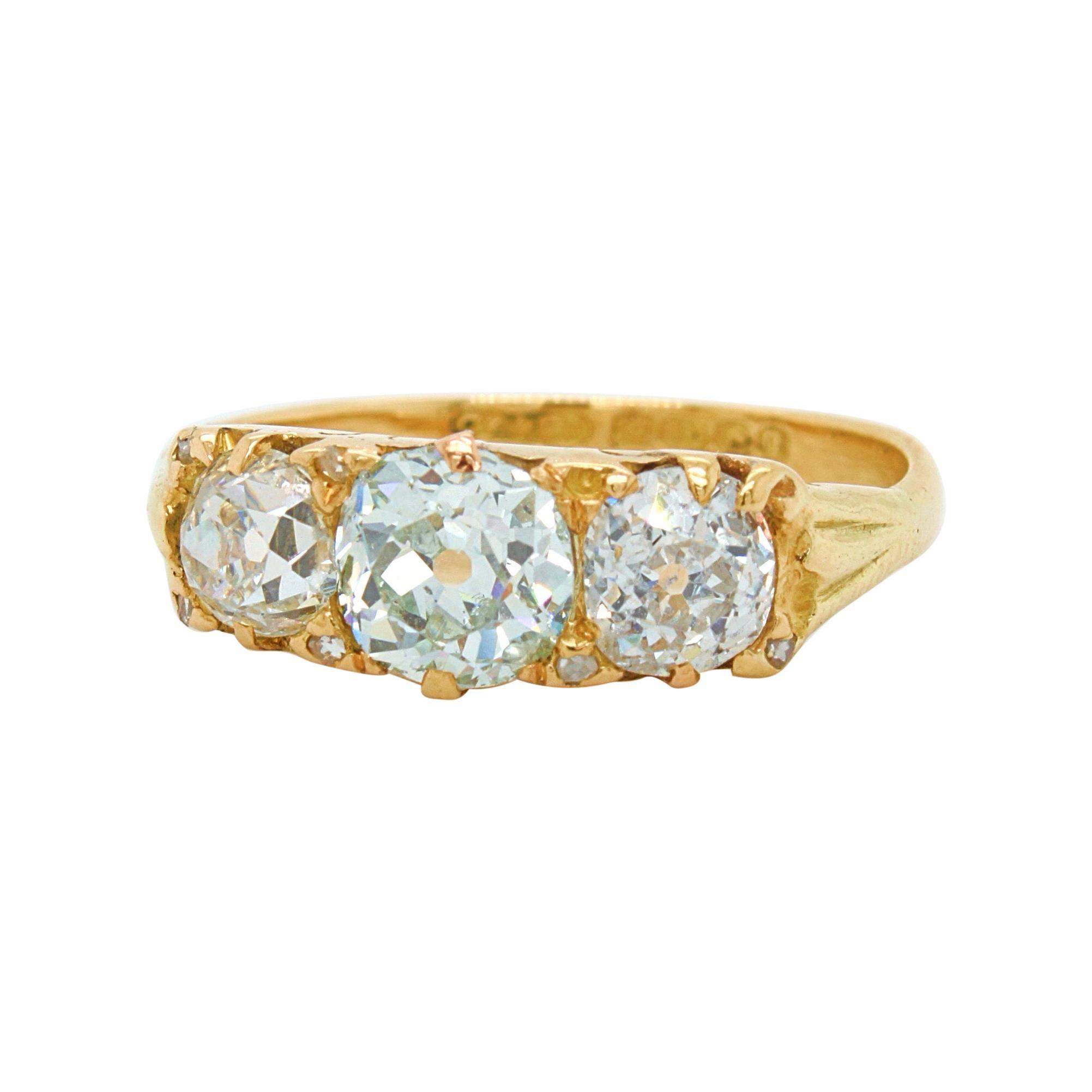 Victorian Very Light Green 'GIA' Old Cut Three Diamond Ring, ca. 1880s
