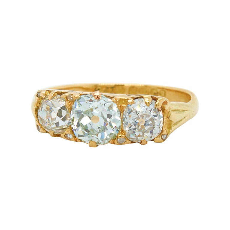 Victorian Very Light Green 'GIA' Old Cut Three Diamond Ring, ca. 1880s For Sale