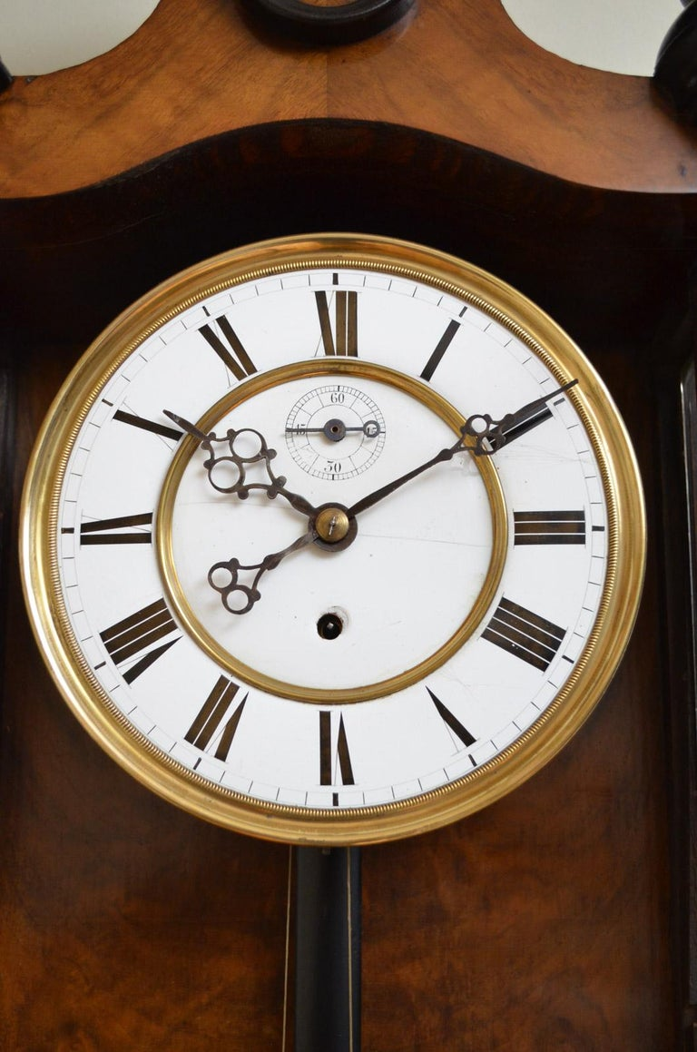 Late 19th Century Victorian Vienna Clock in Walnut For Sale