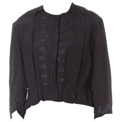 Victorian Vintage Black Silk  Top