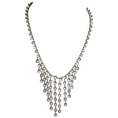 Victorian Vintage Clear Crystals Sterling Silver Bib Necklace