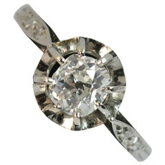 Victorian Vs 0.60 Carat Old Cut Diamond 18 Carat White Gold Solitaire Ring