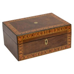 Victorian Walnut and Inlaid Box with Tray