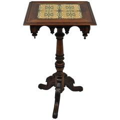 Victorian Walnut Arts & Crafts Tile-Top Renaissance Revival Pedestal Side Table
