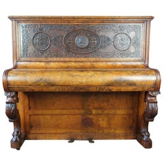 Victorian Walnut Burr Upright Piano Beethoven Medallion Fretwork James Dace 1890