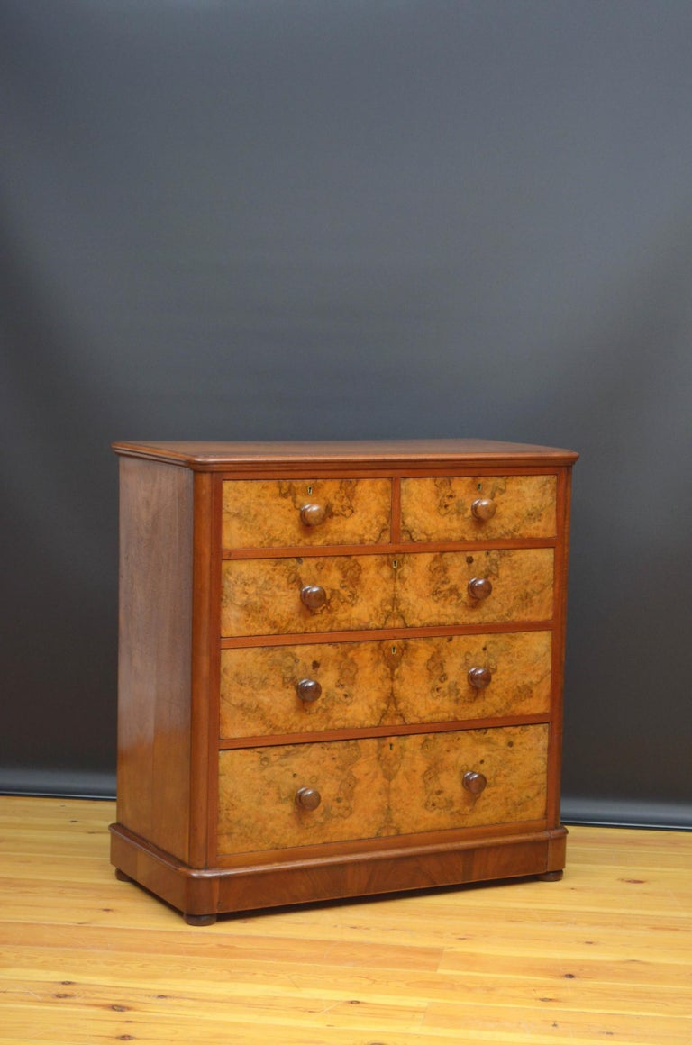 Sn4973, attractive Victorian figured and burr walnut chest of drawers of rounded shoulder design, having figured walnut top with moulded edge above two short and two long mahogany lined burr walnut drawers, bottom drawer being a deep base drawer,