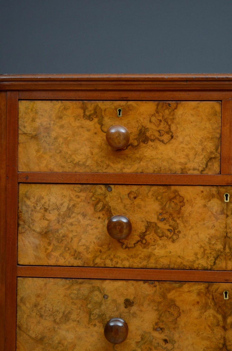 19th Century Victorian Walnut Chest of Drawers For Sale