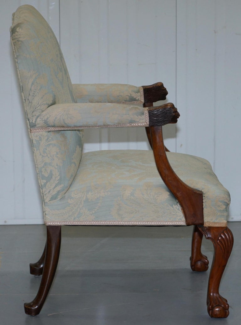 Victorian Walnut Claw & Ball Gainsborough Armchair in the Georgian Irish Manor For Sale 6