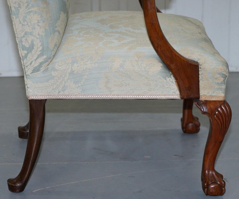 Victorian Walnut Claw & Ball Gainsborough Armchair in the Georgian Irish Manor For Sale 8