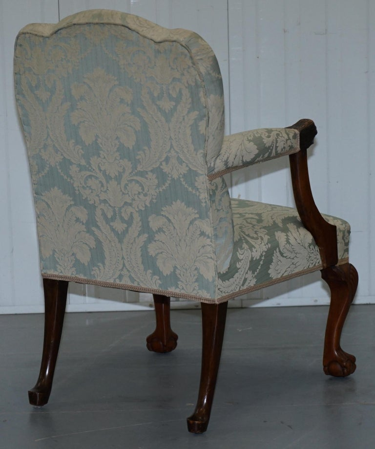 Victorian Walnut Claw & Ball Gainsborough Armchair in the Georgian Irish Manor For Sale 10