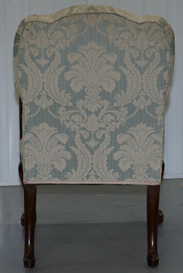 Victorian Walnut Claw & Ball Gainsborough Armchair in the Georgian Irish Manor For Sale 11