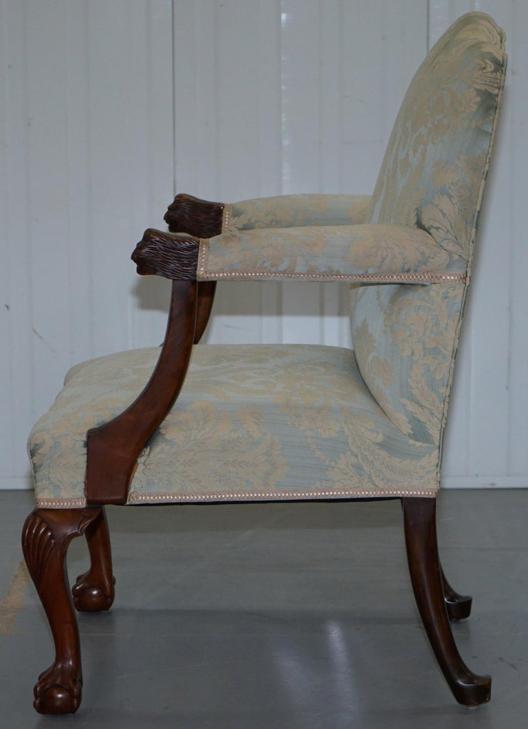 Victorian Walnut Claw & Ball Gainsborough Armchair in the Georgian Irish Manor For Sale 12