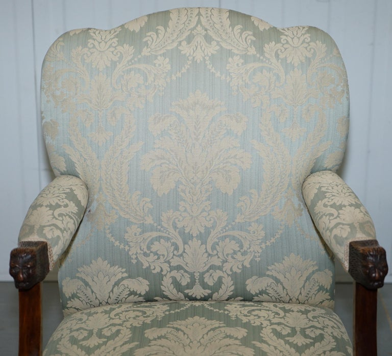 Hand-Crafted Victorian Walnut Claw & Ball Gainsborough Armchair in the Georgian Irish Manor For Sale