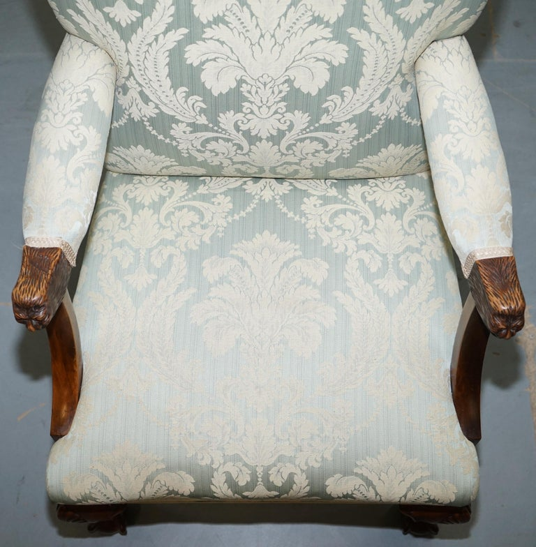 Victorian Walnut Claw & Ball Gainsborough Armchair in the Georgian Irish Manor In Good Condition For Sale In London, GB