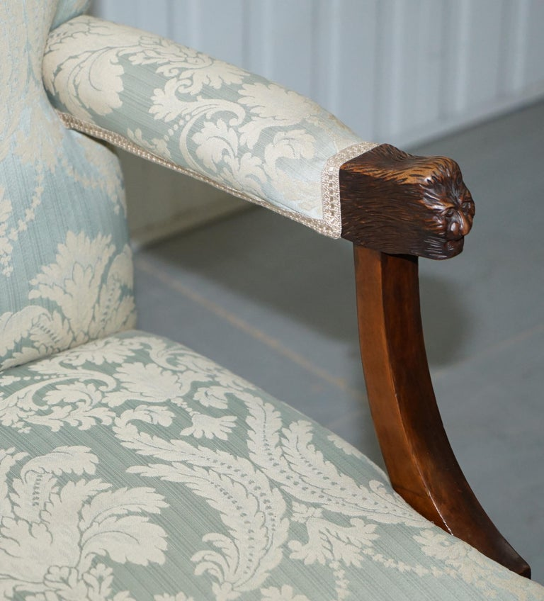 Victorian Walnut Claw & Ball Gainsborough Armchair in the Georgian Irish Manor For Sale 1
