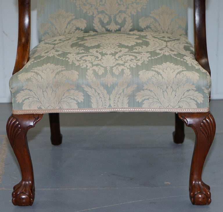 Victorian Walnut Claw & Ball Gainsborough Armchair in the Georgian Irish Manor For Sale 3