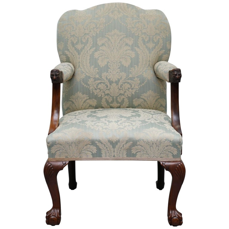 Victorian Walnut Claw & Ball Gainsborough Armchair in the Georgian Irish Manor For Sale
