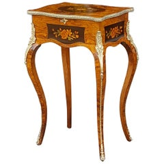 Victorian Walnut Floral Marquetry Teapoy