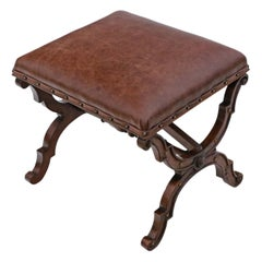 Victorian Walnut Leather X-Frame Stool Seat Foot