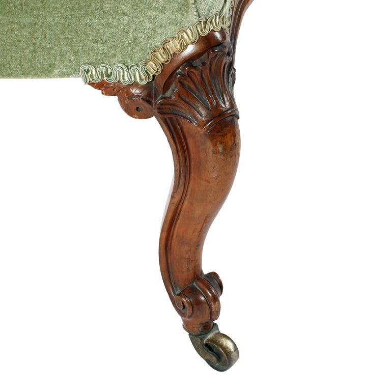 19th Century Victorian Walnut Slipper Shaped Easy Arm Chair For Sale 3