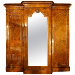 Victorian Walnut Three-Door Breakfront Wardrobe
