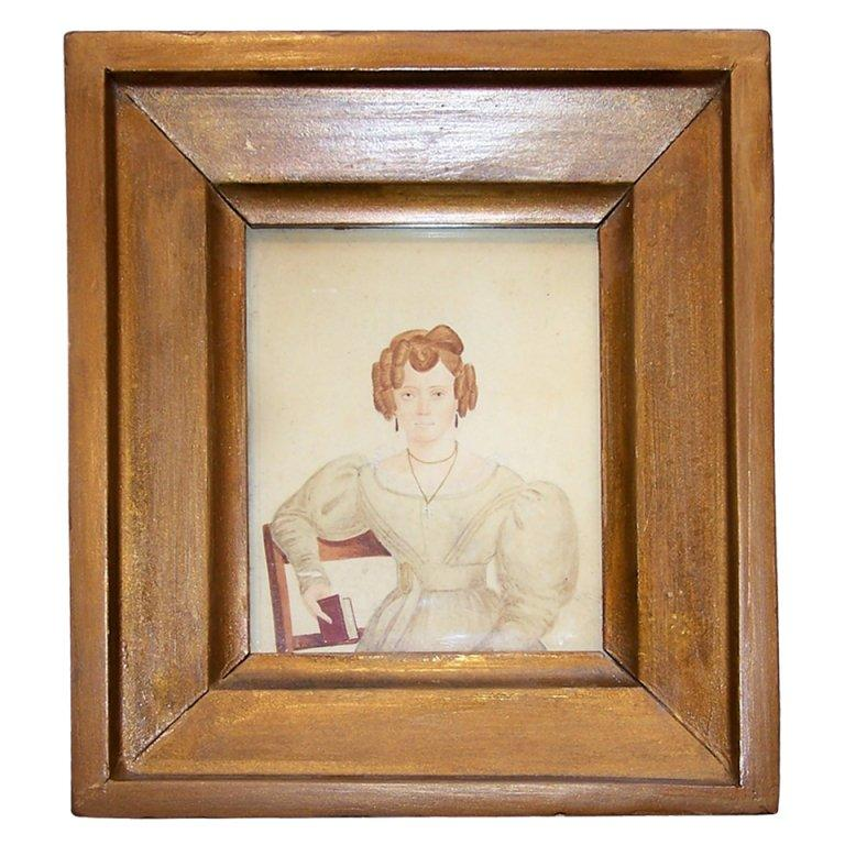 Victorian Watercolor Portrait Unconventional Lady Painted by M King Signed Dated For Sale
