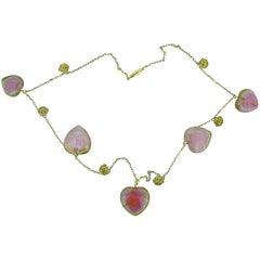 Victorian Watermelon Tourmaline Heart 14 Karat Yellow Gold Necklace