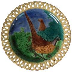Victorian Wedgwood Majolica Pheasant Plate Reticulated Rim