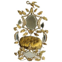 Victorian Whimsical Mirrored Gilt Brass Upholstered Miniature Throne Pin Cushion