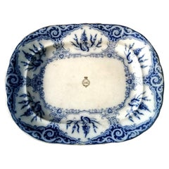 Victorian White and Blue Ceramic Serving Tray