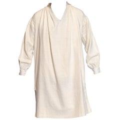 Victorian White Antique Georgian, Men's Raw Linen & Cotton Hand Sewn Shirt